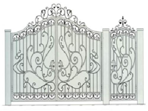 Ворота кованые стальные распашные №7