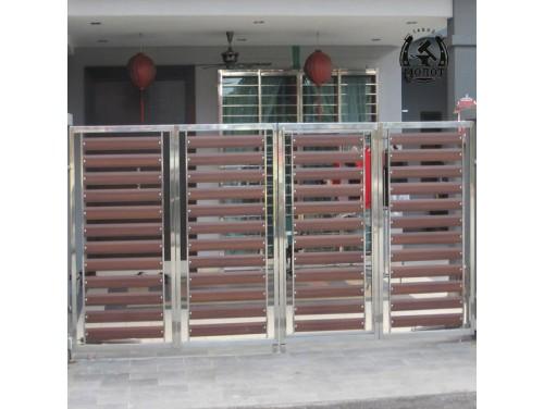 Распашные ворота из нержавеющей трубы 168 168